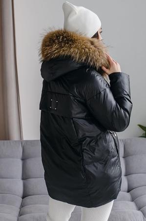 Стеганное пальто с капюшоном